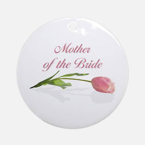 Pink Tulip Mother of Bride Ornament (Round)