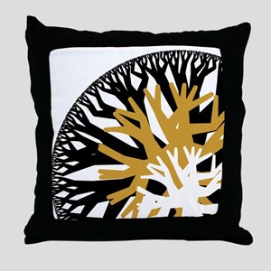 Gold/Black Branch Orb Throw Pillow