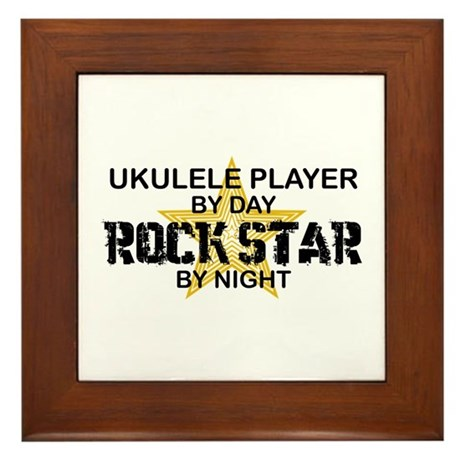 Ukulele Player Rock Star Framed Tile