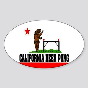 """""""California Beer Pong"""" Oval Sticker"""