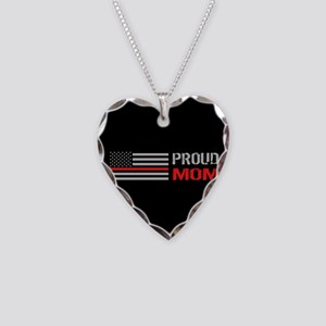 Firefighter: Proud Mom (Black Necklace Heart Charm