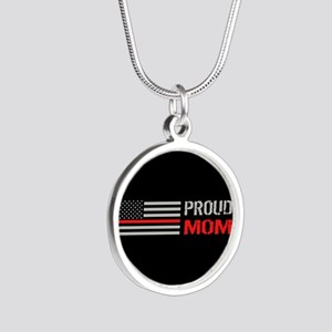 Firefighter: Proud Mom (Blac Silver Round Necklace
