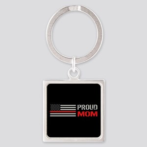 Firefighter: Proud Mom (Black) Square Keychain