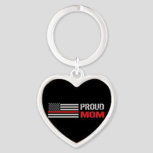 Firefighter: Proud Mom (Black) Heart Keychain