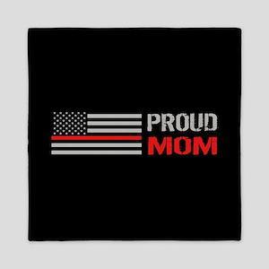 Firefighter: Proud Mom (Black) Queen Duvet
