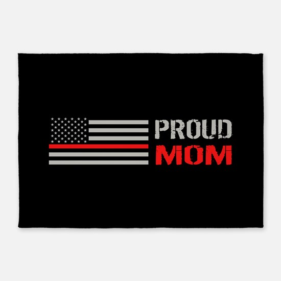 Firefighter: Proud Mom (Black) 5'x7'Area Rug