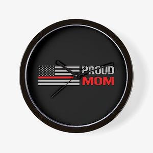 Firefighter: Proud Mom (Black) Wall Clock