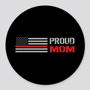 Firefighter: Proud Mom (Black) Round Car Magnet