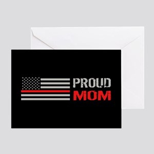 Firefighter: Proud Mom (Black) Greeting Card