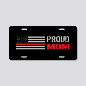 Firefighter: Proud Mom (Bla Aluminum License Plate