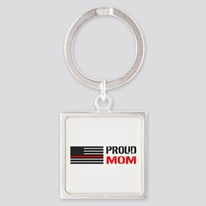 Firefighter: Proud Mom (White) Square Keychain