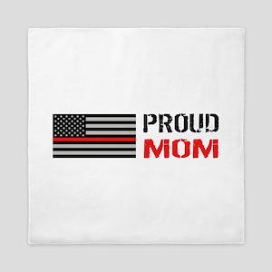 Firefighter: Proud Mom (White) Queen Duvet