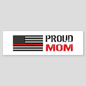 Firefighter: Proud Mom (White) Sticker (Bumper)