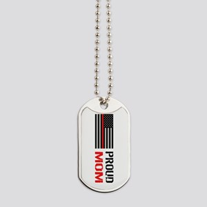 Firefighter: Proud Mom (White) Dog Tags