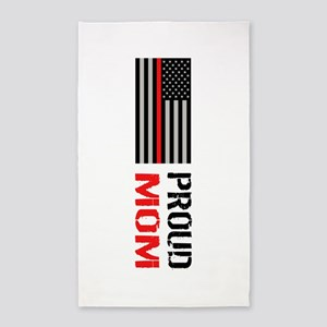 Firefighter: Proud Mom (White) Area Rug