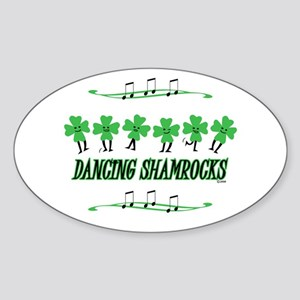 DANCING SHAMROCKS Oval Sticker