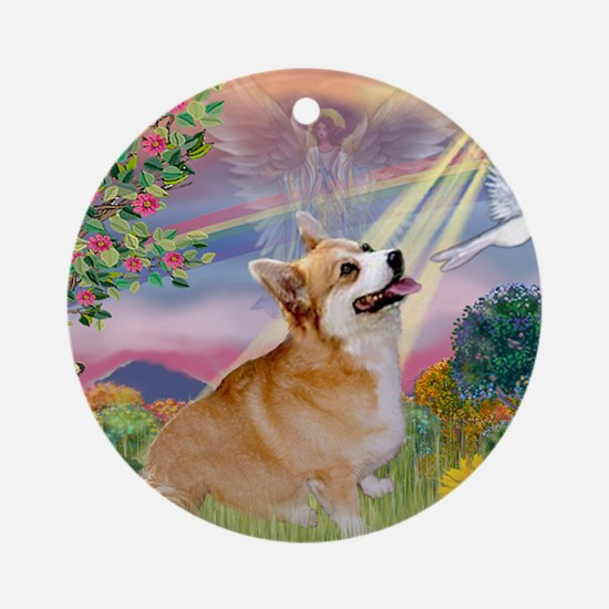 Cloud Angel Welsh Corgi Ornament (Round)