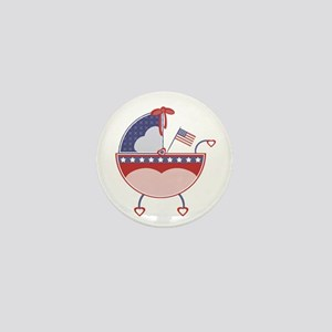 USA Patriotic Baby Shower Carriage Mini Button