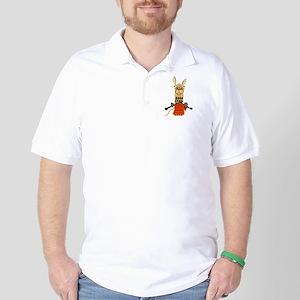 Funny Llama Knitting Golf Shirt