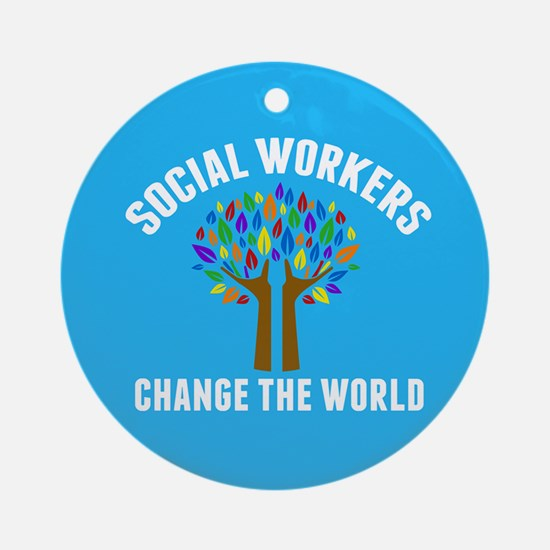 Social Work Quote Round Ornament