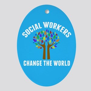Social Work Quote Oval Ornament