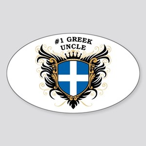 Number One Greek Uncle Oval Sticker