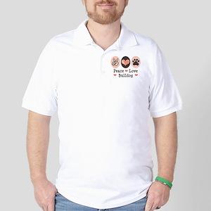 Peace Love Bulldog Golf Shirt
