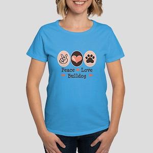 Peace Love Bulldog Women's Dark T-Shirt
