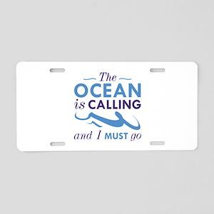The Ocean Is Calling Aluminum License Plate