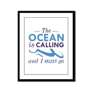 The Ocean Is Calling Framed Panel Print