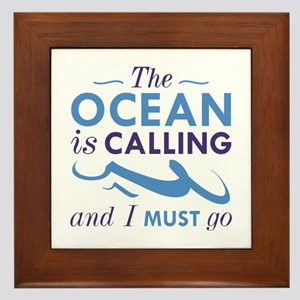 The Ocean Is Calling Framed Tile