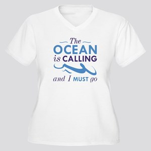 The Ocean Is Calling Women's Plus Size V-Neck T-Sh
