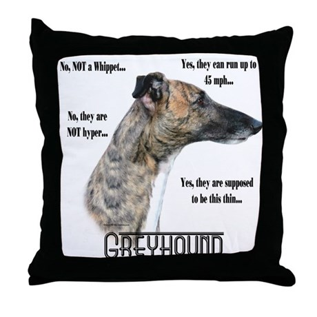 Greyhound FAQ Throw Pillow
