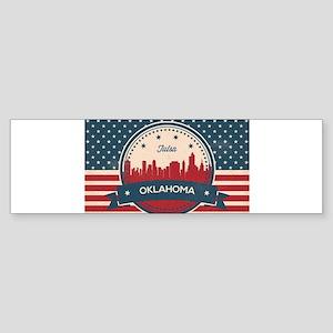 Tulsa Oklahoma Retro Skyline Bumper Sticker