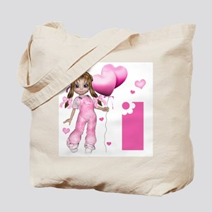 Girl Hearts First Birthday Tote Bag