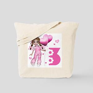 Girl Hearts 3rd Birthday Tote Bag