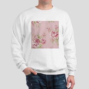 elegant country pink roses vintage flor Sweatshirt