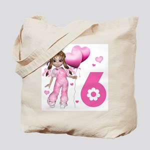 Girl Hearts 6th Birthday Tote Bag