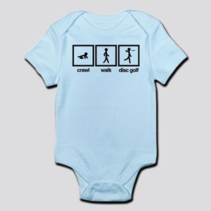 Crawl,Walk, Disc Golf Baby Light Bodysuit