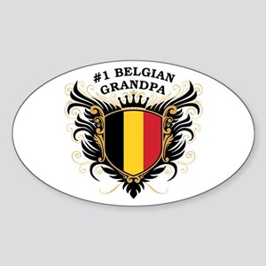Number One Belgian Grandpa Oval Sticker