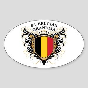 Number One Belgian Grandma Oval Sticker