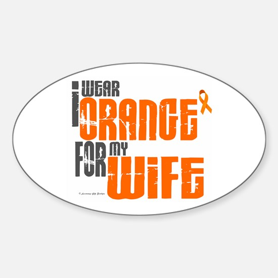 I Wear Orange For My Wife 6 Oval Decal