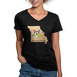 OES PWM - Missouri Women's V-Neck Dark T-Shirt