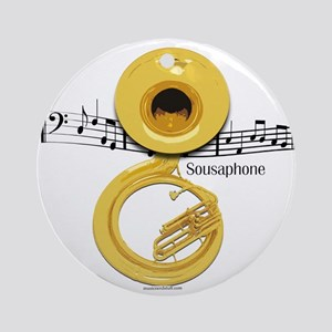 Sousaphone Music Ornament (Round)