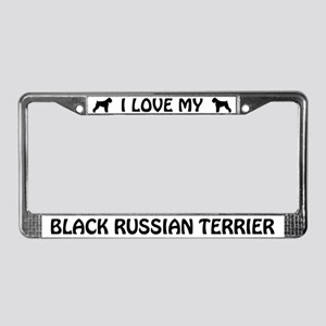 I Love My Black Russian Terrier License Frame
