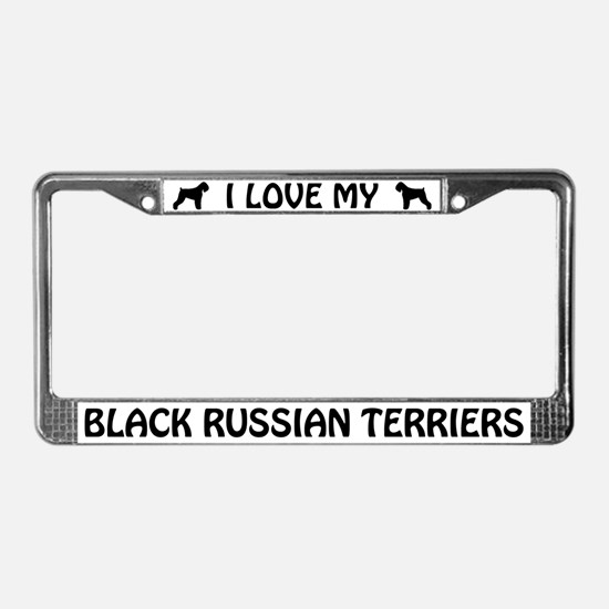 I Love My Black Russian Terriers License Frame