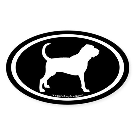 Bloodhound Oval (white on black) Oval Sticker