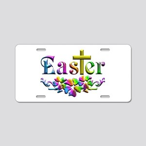 Easter Cross and Flowers Aluminum License Plate