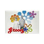"""Groovy"" Retro Graphic Rectangle Magnet"