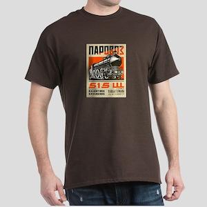 Vintage Poster Design of Train on Dark T-Shirt